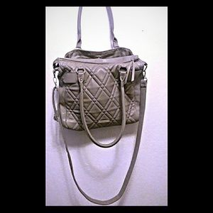 STEVE MADDEN Large Gray Quilted Purse/Bag